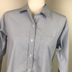 CAbi Button Front Shirt Long Sleeve Blue Striped